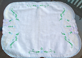 """Vintage Table Runner Purple and White Embroidery Crocheted Trim 16""""x20""""  #4767 - $8.99"""