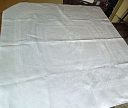 """Vintage White Linen 36"""" Square Tablecloth with Unusual Eagle Motif #6260 - $24.99"""