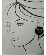 VINTAGE FASHION CLIP BUTTON EARRINGS RED CENTER GOLDEN ACCENT BLACK FRAME - $15.00
