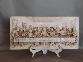 From Italy - Stone Resin Bas Relief of Last Supper on Easel Display - $12.99