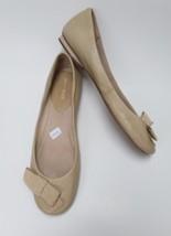 """Nine West Shoes Ballet Flats Beige Gold Bow """" Love It"""" Womens Size 7 M - $44.51"""