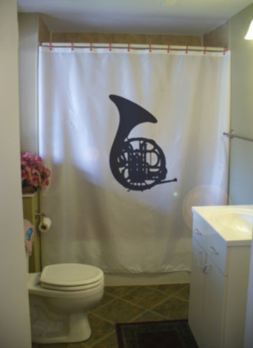 Printed Shower Curtain french horn brass instrument music blow
