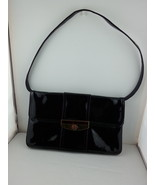 Vintage Black Patent Leather Clutch with Lucite on Gold Colored Closure. - $55.00