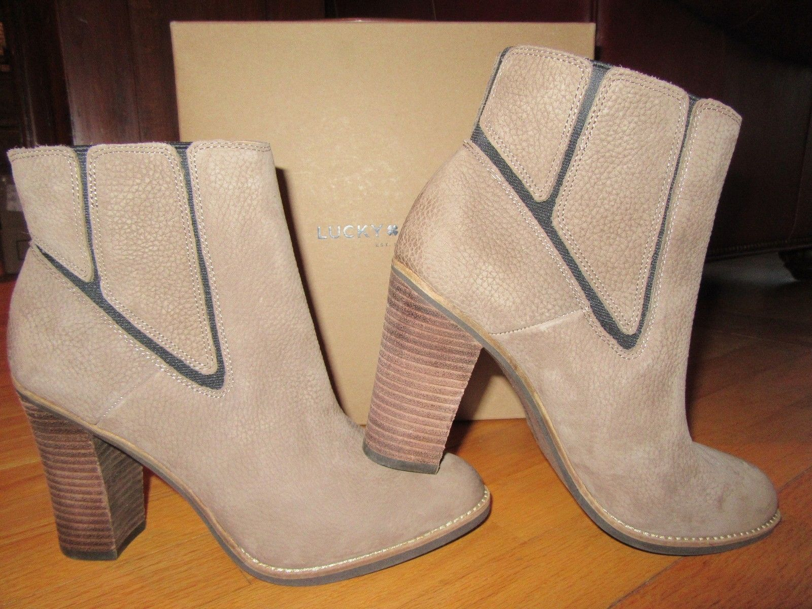 2f6b7c0e976 6P LUCKY BRAND WOMENS LEATHER BOOTS RARE BRINDLE EMBOSSED SIZE 9M