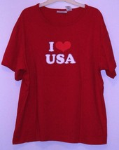 BASIC EDITIONS  * I LOVE USA T-SHIRT * RED - 100% COTTON - LARGE - SHORT... - $5.99