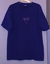 T-SHIRT * BLUE * 3 HEARTS DECORATION - 100% COTTON - LARGE - S/S - MADE ... - $5.99