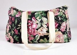 Vtg 90s Floral Canvas Duffle Shoulder Hand Bag Satchel Purse Tote Luggag... - $19.79