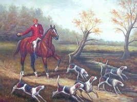 24X36 inch Hand-painted Figure Oil Painting Go Hunting - $47.04