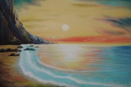 24X36 inch Seascape Oil Painting Suise over the Sea - $27.40