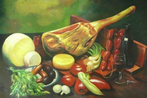 24X36 inch Still Life Hand-painted Painting Vegetable & Wine