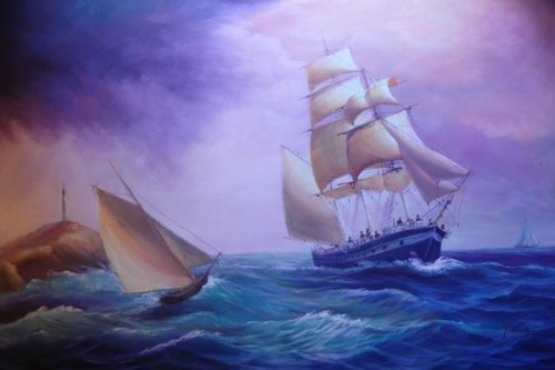 Primary image for 24X36 inch Seascape Oil Painting Sailing Boat In The Storm