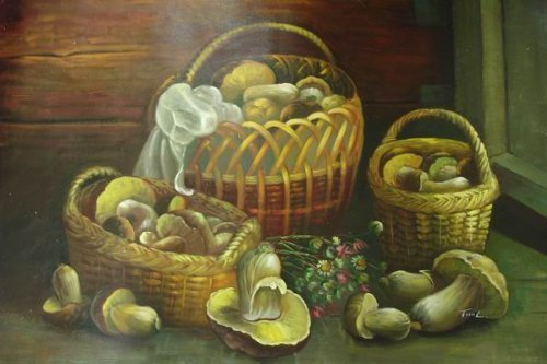 24X36 inch Still Life Hand-painted Painting Mushroom Basket