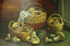 24X36 inch Still Life Hand-painted Painting Mushroom Basket - $26.43