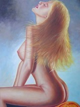 24X36 inch Erotic Naked Oil Painting Sexy Nude Blond Lady - $47.04