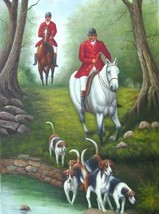 24X36 inch Britain Hunter Art Oil Painting Go Hunting/Horses - $47.04