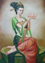 24X36 inch Oriental Figure Oil Painting Chinese Angel/Lotus - $47.04
