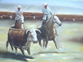 24X36 inch Hand-painted Figure Oil Painting Cowboys/Rodeo - $47.04