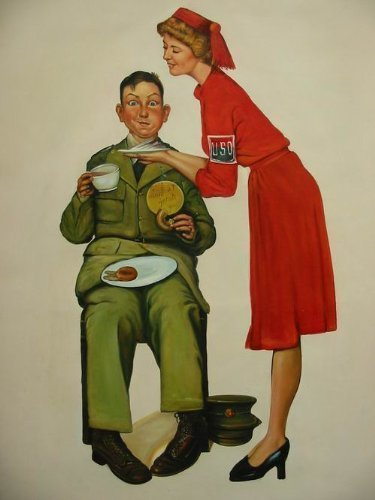 24X36 inch Rockwell Repro Painting Soldier & Doughnut Dolly