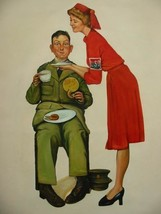 24X36 inch Rockwell Repro Painting Soldier & Doughnut Dolly - $47.04