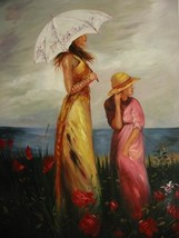 24X36 inch Figure Oil Painting Young Mother and Child - $45.04