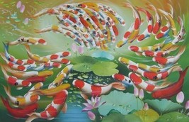24X36 inch Oil Painting 99 Fortune Goldfishes in Lotus Pond - $42.13
