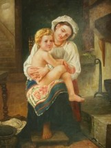 20X24 inch Bouguereau Repro Painting Mother Gazing@Her Child - $38.20