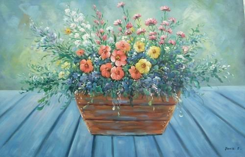 24X36 inch Floral Hand-painted Oil Painting Flower Plant