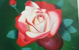 24X36 inch Hand-painted Floral Oil Painting Blooming Rose - $29.39