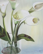 20X24 inch Hand-painted Floral Oil Painting White Lilies - $29.39