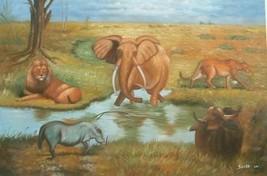 24X36 inch Animal Paradise Oil Painting Lion,El... - $29.37