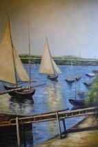 24X36 inch Seascape Coastal Oil Painting Boats ... - $27.41