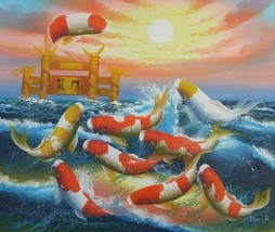 20X24 inch Oil Painting Jumping Fortune Goldfishes on Sea - $27.41