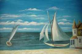 24X36 inch Oil Painting Yacht-Happy Journey on ... - $27.41