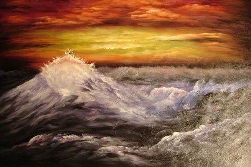 24X36 inch Seascape Hand-painted Painting Storm On The Sea
