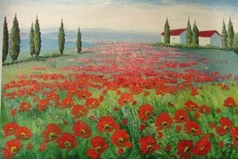 24X36 inch Landscape Hand-painted Painting Red Flower Field - $26.45
