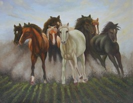 20X24 inch Hand-painted Animal Oil Painting Running Horses - $26.45