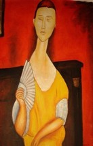 24X36 inch Amedeo Modigliani Oil Painting Woman With A Fan - $26.45