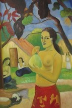 24X36 inch Paul Gauguin Oil Painting Repro Woman With Fruit - $26.45