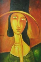 24X36 inch Amedeo Modigliani Oil Painting Jeanne Hebuterne - $26.45