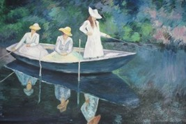 24X36 inch Claude Monet Oil Painting Repro Women fishing - $26.45