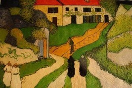 24X36 inch Van Gogh Painting Repro Village Street and Steps - $26.45