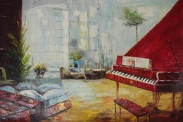 24X36 inch Abstract Hand-painted Oil Painting Piano Room - $26.45