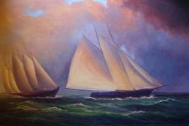 24X36 inch Seascape Oil Painting Sailing Boat In The Storm - $24.67