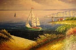 24X36 inch Coastal Art Oil Painting Paradise@a Beautiful Bay - $24.67
