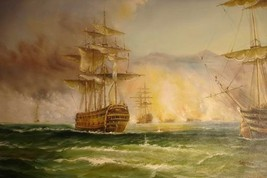 24X36 inch Seascape Art Oil Painting Fighting On The Sea - $24.67