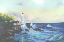 24X36 inch Seascape Oil Painting Lighthouse - $24.67