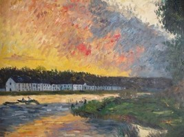 20X24 inch Claude Monet Painting Repro The Seine at Bougival - $17.61