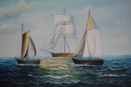24X36 inch Seascape Oil Painting Sailing Fishing Boats - $24.66