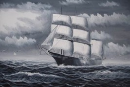 24X36 inch Seascape Oil Painting Pirate Sailing Boat - $24.66
