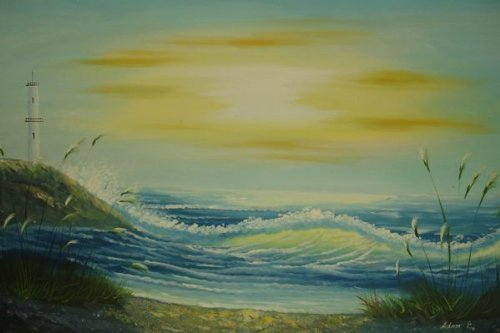 24X36 inch Seascape Oil Painting Suise over the Ocean - $24.66